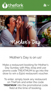 The Fork – Win a $300 Restaurant Voucher (prize valued at $300)
