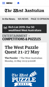 The West Australian – Competition (prize valued at $1,000)