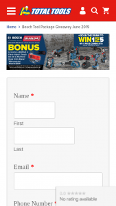 Total Tools – Bosch – Win a Bosch Power Tool Package (prize valued at $8,495)