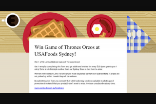 USAFoods – Win Game of Thrones Oreos at Usafoods Sydney