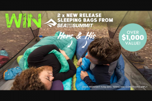 Wild Earth – Win Hers and His Sea to Summit Sleeping Bags (prize valued at $1,000)