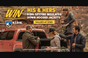Wild Earth – Win His & Hers Kuhl Spyfire Insulated Down Hooded Jackets (prize valued at $740)