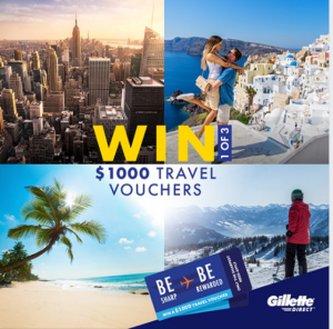 P & G – Gillette – Win 1 of 3 Flight Centre travel vouchers