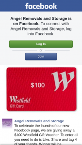 Angel Removals and Storage – a $100 Westfield Gift Voucher (prize valued at $100)