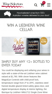 Australian Wine Selectors – Win a Liebherr Cabinet Valued at $1790. (prize valued at $1,790)