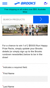 Brooks Running – Win 1 of 2 $1000 Run Happy Prize Packs (prize valued at $2,000)