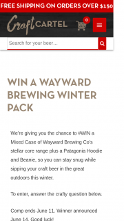 Craft Cartel – Win a Mixed Case of Wayward Brewing Co's Stellar Core Range Plus a Patagonia Hoodie and Beanie (prize valued at $175)