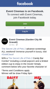 Event Cinemas Garden City – Win a The Secret Life of Pets 2 Candy Bar Combo Including a Small Popcorn and a Limited Edition Cup to Enjoy In The Movie