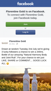 "Florentine Gold – Win a 200ml Bottle of Our Amazing ""natural Harmony Body and Joint Rub""."