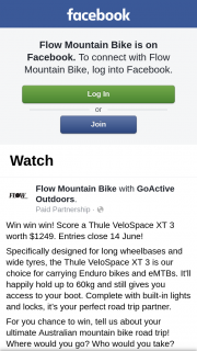 Flow Mountain Bike – Win a Thule Velospace Xt 3 Bike Carrier (prize valued at $1,249)