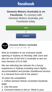 Genesis Motors – Win an Invitation to Our Exclusive Studio Opening In Sydney on Monday 24th June and Also Be One of The First In Australia to See Our New Genesis G70 & G80. (prize valued at $9,340)