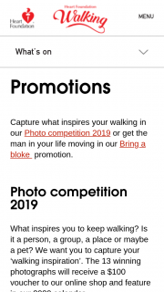 Heart Foundation – Win 1/13 $100 Online Shop Vouchers and Feature In Their2020 Calendar (prize valued at $1,300)