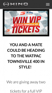 Hino – Win Two Tickets for a Full VIP Experience at The Watpac Townsville 400 Including Veuve Clicquot Lounge Tickets for Sunday (prize valued at $2,000)