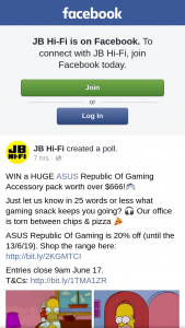 JB HiFi – Win a Huge Asus Republic of Gaming Accessory Pack Worth Over $666 (prize valued at $666)