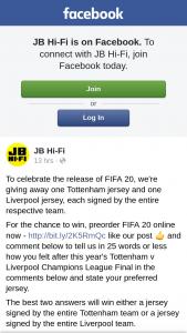 JB HiFi – Win a Signed Tottenham Jersey & a Signed Liverpool Jersey Pre-Order FIFA 2020