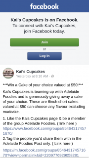 Kai's Cupcakes – a Cake of Your Choice (prize valued at $50)