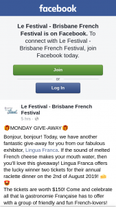 Le Festival – for You From Our Fabulous Exhibitor (prize valued at $150)