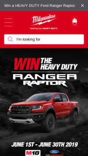 Milwaukee Tools – Win The Heavy Duty Ford Ranger Raptor Loaded With Milwaukee Tools (prize valued at $90,000)