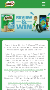 Nestlé – Win One of 12 Milo Champ Bands for Your Child