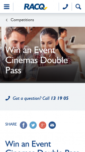RACQ – Win an Event Cinemas Double Pass (prize valued at $400)