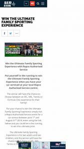 Repco Service – Win The Ultimate Family Sporting Experience With Repco Authorised Service (prize valued at $10,000)