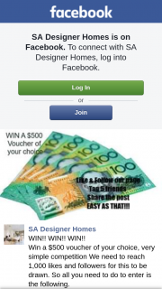 SA Designer Homes – Win a $500 Voucher of Your Choice (prize valued at $500)