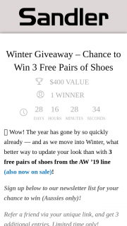 Sandler – Win 3 Free Pairs of Shoes (prize valued at $400)