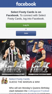 Select Footy Cards – Win Monday's Queens Birthday Clash Between The Collingwood FooTBall Club & Melbourne FooTBall Club (prize valued at $1)