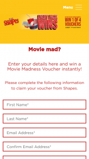 Shapes Movie Madness Promotion – Win 1 of 4 Vouchers