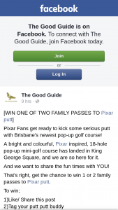 The Good Guide – Win 1 Or 2 Family Passes to Pixar Putt