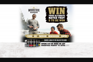 Woodstock Bourbon – Win Your Ultimate Mate's Trip Promotion (prize valued at $12,000)
