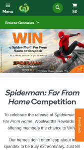 Woolworths Rewards – Win a Sony Superior Tech Home Entertainment System and a Spidey Prize Pack Valued at $4945. (prize valued at $4,945)