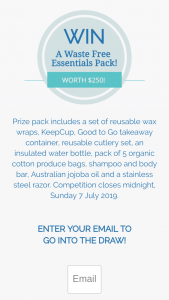 Biome – Win an Incredible Waste Free Essentials Pack Worth $250 (prize valued at $250)