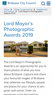 Brisbane City Council Lord Mayor's Photographic Awards – Great Cash Prizes (prize valued at $14,000)