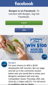 Burgen – Win a $100 Woolworths Gift Voucher (prize valued at $100)
