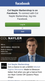 Col Nayler Barbershop Brisbane – Win a $3000 Mitchell Ogilvie Menswear Made-To-Measure Italian Suit When You Get a Haircut From Our Myer Centre Or Queens Plaza Shops (prize valued at $3,000)