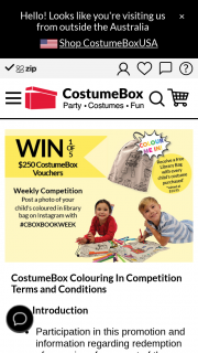 Costume Box – Win One of Five $250 Vouchers (prize valued at $250)