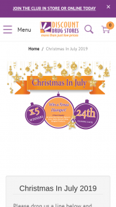 Discount Drug Stores Christmas in July – Win 1/5 Hampers (prize valued at $1)