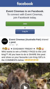 Event Cinemas Australia Fair – Win a Family Pass to The Lion King?