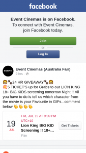 Event Cinemas Australia Fair – Win Five Tickets to See The Lion King Big Kids Screening
