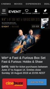 Event Cinemas – Win One (1) Prize Each