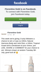 Florentine Gold – Win a 3 Pack (a 100ml Natural Harmony Body and Joint Rub