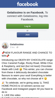 Gelatissimo – 1l Take Home Packs to 10 Across Our Facebook and Instagram Pages (prize valued at $255)