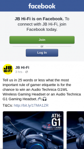 JB HiFi – Win an Audio Technica G1wl Wireless Gaming Headset Or an Audio Technica G1 Gaming Headset (prize valued at $249)