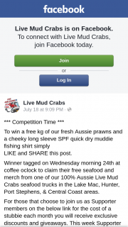 Live Mud Crabs – Win a Free Kg of Our Fresh Aussie Prawns and a Cheeky Long Sleeve Spf Quick Dry Muddie Fishing Shirt Simply (prize valued at $1)