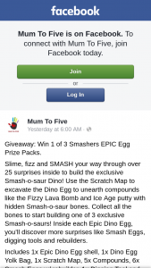 Mum to Five – Win 1 of 3 Smashers Epic Egg Prize Packs