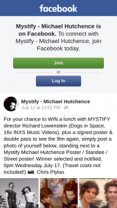 Mystify Michael Hutchence – Win a Lunch With Mystify Director Richard Lowenstein (dogs In Space