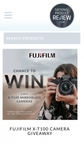 National Product Review – Win a Fujifilm X-T100 Cameras Valued at $799. (prize valued at $799)