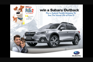 Nova FM – Win The Chance to Take Home a Subaru OuTBack Plus a Sydney Family Getaway to See The Secret Life of Pets 2 (prize valued at $45,990)