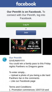 Our Penrith are giving away a FAMILY PASS to Panthers vs Dragons Fri 19.7.19 Prize value $60  (prize valued at $60)